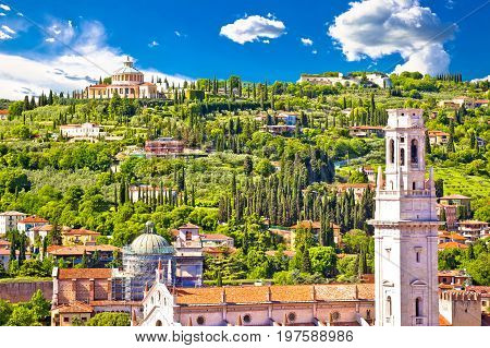 Verona Rooftops And Madonna Di Lourdes Sanctuary View