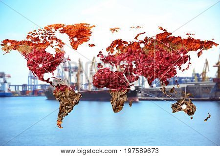 World map of different spices and seaport on background. Logistic and wholesale concept