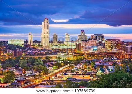 Albany, New York, USA city skyline at twilight.