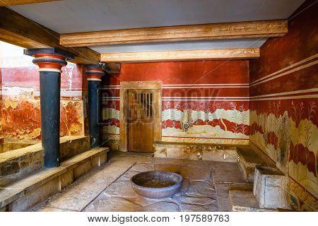 Knossos, Crete, June 10, 2017: Interior Of The Minoan Palace Of Knossos. Knossos Palace Is The Large