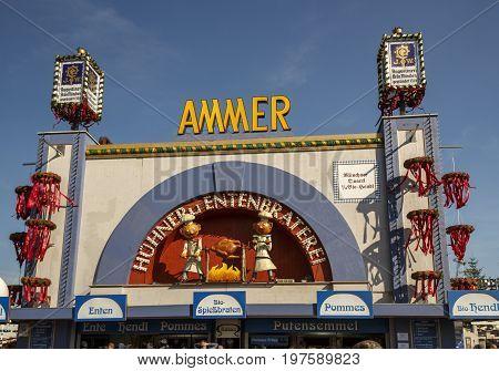 Munich, Germany - September 24, 2016: Ammer Gefluegelbraterei building on Theresienwiese during Oktoberfest