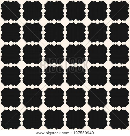 Ornamental pattern. Vector geometric texture with carved shapes, square grid. Grid pattern. Abstract monochrome ornament background, repeat tiles. Design pattern, textile pattern, covers pattern, fabric pattern.