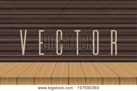 vector wood table top on ebony wooden background