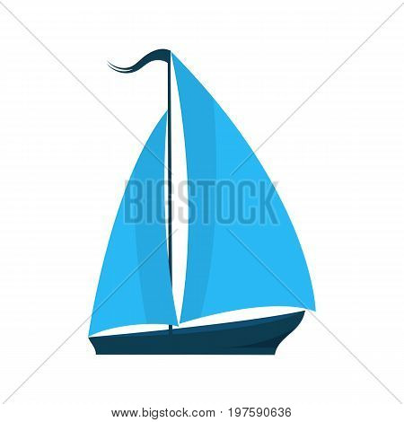 A ship with sails. Logo for water sports tourist firm for pleasure boats. Summer holiday concept