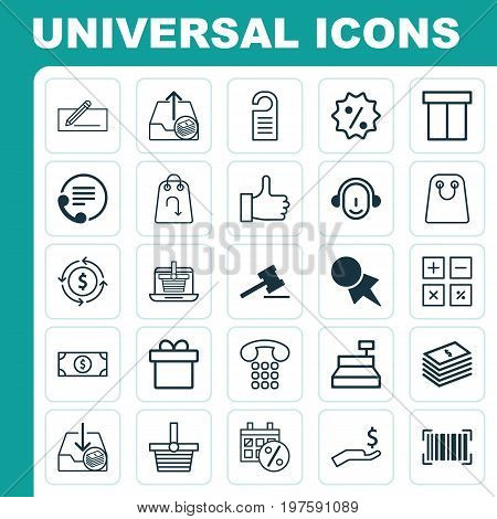 E-Commerce Icons Set. Collection Of Tote Bag, Black Friday, Callcentre And Other Elements
