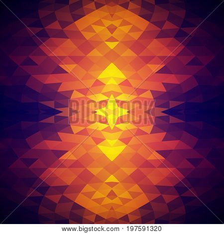 Bright abstract background with crystalline structure. Pattern of triangles. Color spots. The contrast of hot and cold colors.