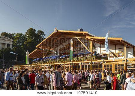 Munich, Germany - September 24, 2016: Schuetzenfestzelt on Theresienwiese during Oktoberfest