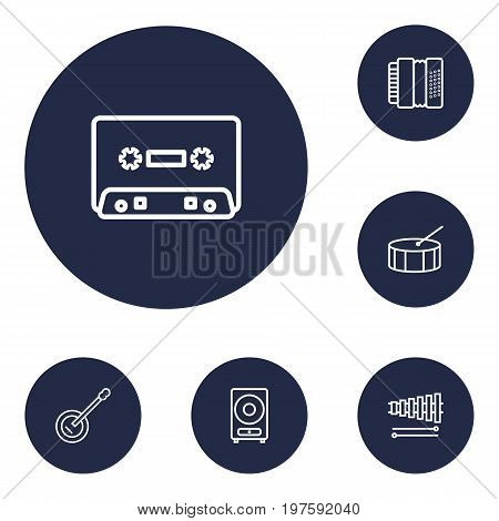 Collection Of Record, Loudspeaker, Guitar And Other Elements.  Set Of 6 Melody Outline Icons Set.