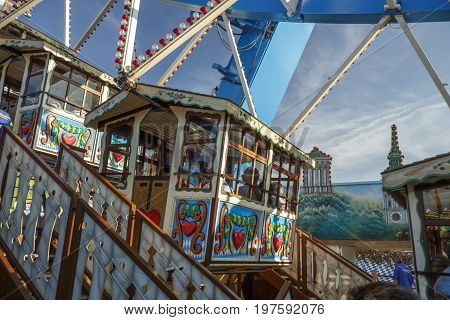 Munich, Germany - September 24, 2016: Ferris wheel on the fairground of the Octoberfest in Munich