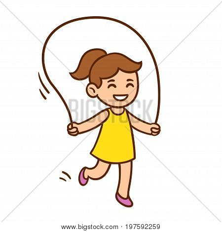 Vector illustration of cute cartoon little girl jumping rope. Child play clip art drawing.