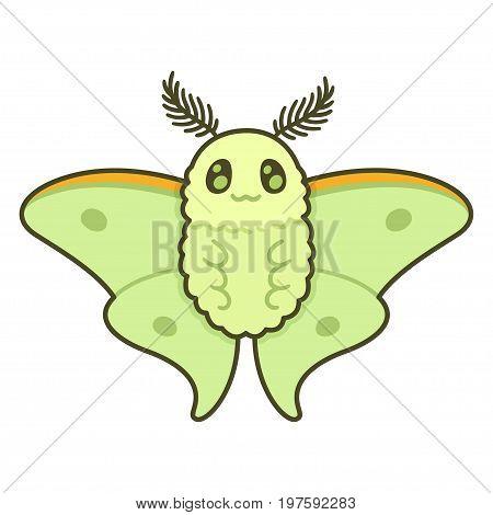 Cute cartoon Luna moth. Funny vector butterfly illustration.
