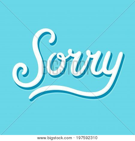 Sorry calligraphy hand lettering text apology card. Vector illustration.