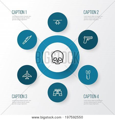 Warfare Outline Icons Set. Collection Of Cutter, Military, Weapon And Other Elements