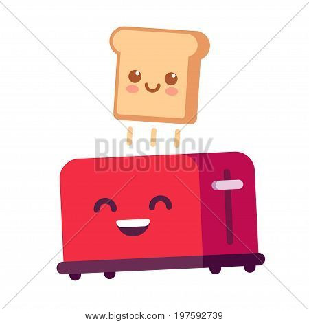 Cute cartoon toast jumping out of toaster funny breakfast food vector illustration in simple flat style.