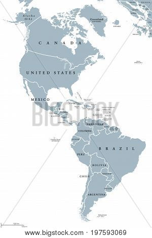 The Americas political map with countries and borders of the two continents North and South America. English labeling. Gray illustration on white background. Vector.
