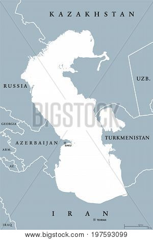 Caspian Sea region political map with borders and countries. Body of water, basin, and largest lake on earth between Europe and Asia. Gray illustration. Vector.