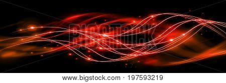 Abstract background with connected lines and dots for your design. Smooth lines, beautifully intertwined, shining dots and flashes on a dark background