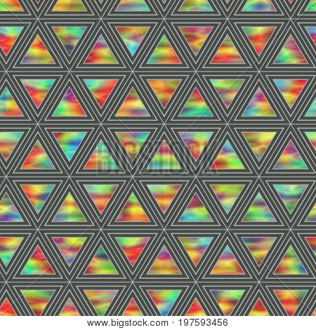 Creative Seamless Pattern of Holographic Triangles of Horizontal Direction. Continuous Background of Multicolor Geometric Figures Triangles.