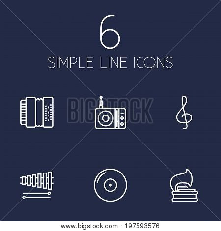 Collection Of Station, Gramophone, Wooden Block And Other Elements.  Set Of 6 Music Outline Icons Set.