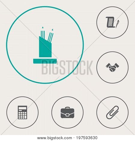 Collection Of Clip, Diplomat, Contract And Other Elements.  Set Of 6 Cabinet Icons Set.