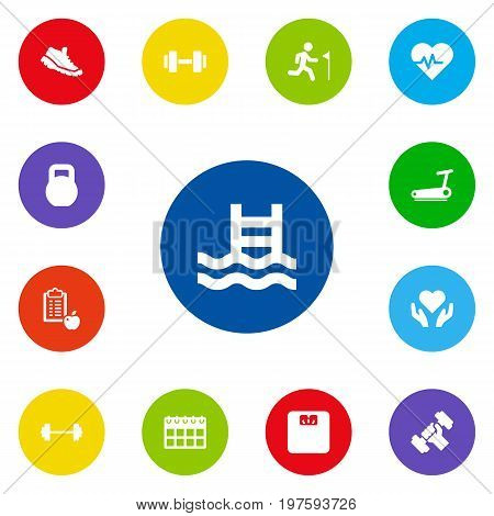 Collection Of Regime, Body Balance, Hartbeat And Other Elements.  Set Of 13 Fitness Icons Set.