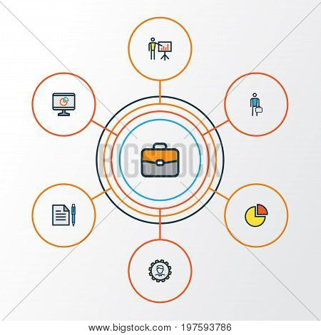 Business Colorful Outline Icons Set. Collection Of Pie Chart, Agreement, Administrator And Other Elements