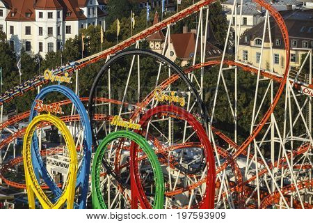 Munich Germany - September 24 2016: The Olympia Looping rollercoaster at Oktoberfest is a famous fun ride and attracts many people