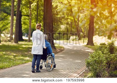 Hospice nurse helping elderly man on wheelchair outdoor