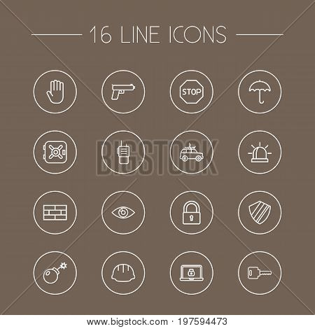 Collection Of No Entry, Walkie-Talkie, Vision And Other Elements.  Set Of 16 Procuring Outline Icons Set.