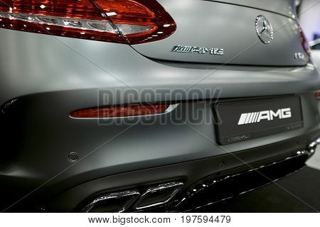 Sankt-Petersburg Russia July 21 2017: Back view of a Mercedes Benz C 63s coupe 2017. Exhaust system. Car exterior details. Photo Taken on Royal Auto Show July 21