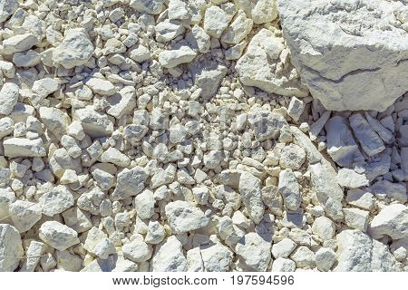 Natural chalk, white stones, texture, texture, pattern, web background, toned