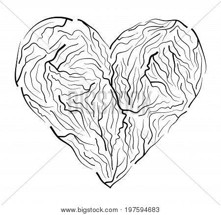 Vein Heart Vector Symbol Icon Design. Beautiful Illustration Isolated On White Background
