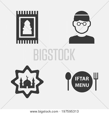 Ramadan Icons Set. Collection Of Prayer Carpet, Mullah, Dishes And Other Elements