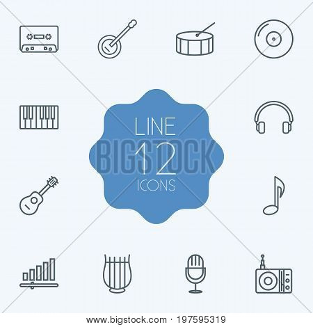 Collection Of Audio Level, Gramophone, Amplifier And Other Elements.  Set Of 12 Song Outline Icons Set.