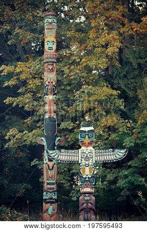 Indian totem poles in Stanley park in Vancouver, Canada.