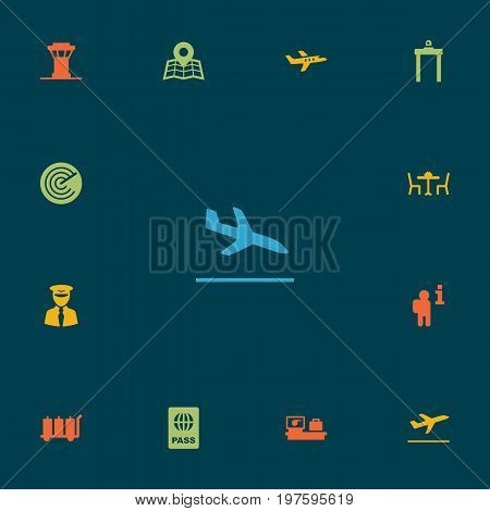 Collection Of Metal Detector, Location, Leaving And Other Elements.  Set Of 13 Plane Icons Set.