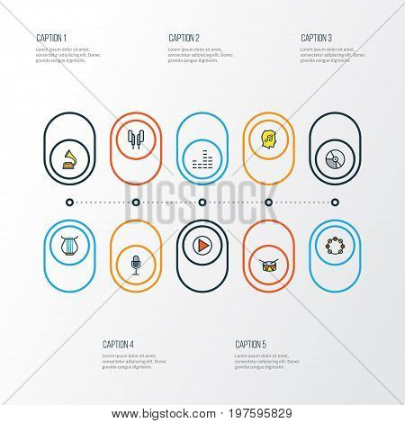 Audio Colorful Outline Icons Set. Collection Of Circle, Play, Lover And Other Elements