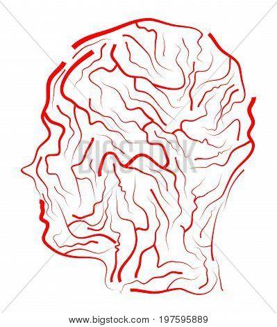 Vein  Human Head  Vector Symbol Icon Design. Beautiful Illustration Isolated On White Background
