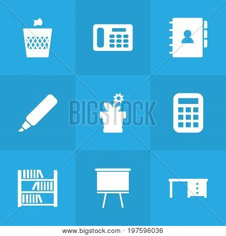Collection Of Desktop, Book, Urn And Other Elements.  Set Of 9 Bureau Icons Set.