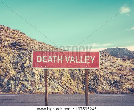 A Sign For Death Valley In The Desert Wilderness