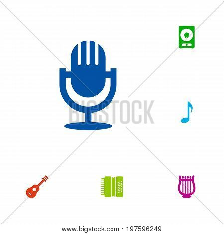 Collection Of Lyre, Tone Symbol, Amplifier And Other Elements.  Set Of 6 Song Icons Set.