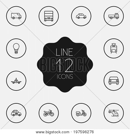 Collection Of Airplane, Motorcycle, Lorry And Other Elements.  Set Of 12 Traffic Outline Icons Set.