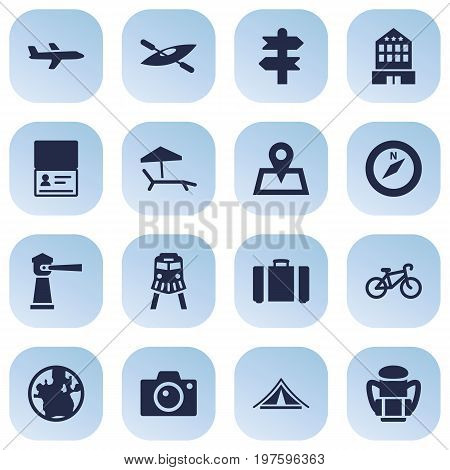 Collection Of Booth, Seamark, Bike And Other Elements.  Set Of 16 Travel Icons Set.