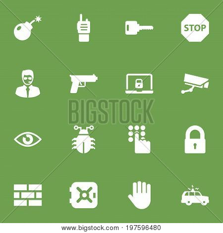 Collection Of Notebook, Keypad, Camera And Other Elements.  Set Of 16 Security Icons Set.