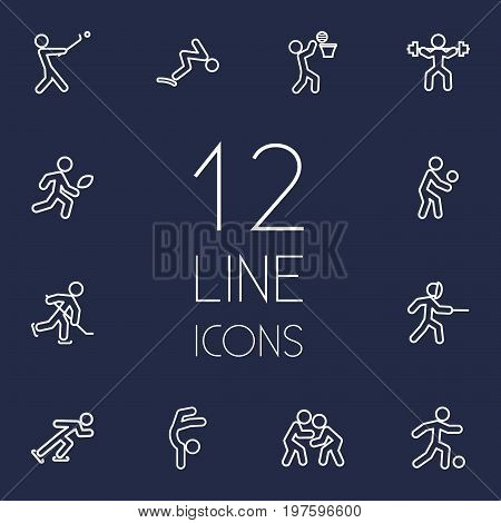 Collection Of Stick, Player, Fight And Other Elements.  Set Of 12 Fitness Outline Icons Set.