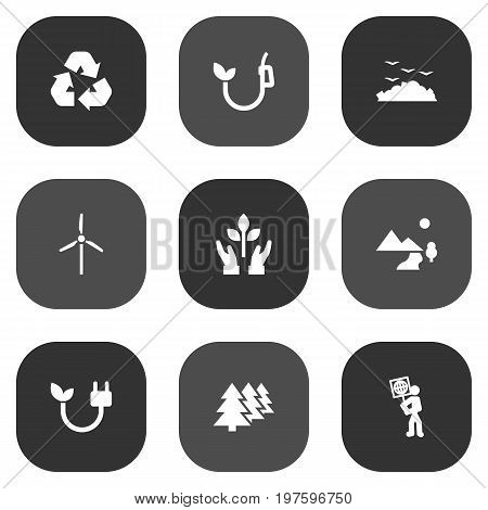 Collection Of Reforestation, Rubbish, Protection And Other Elements.  Set Of 9 Bio Icons Set.