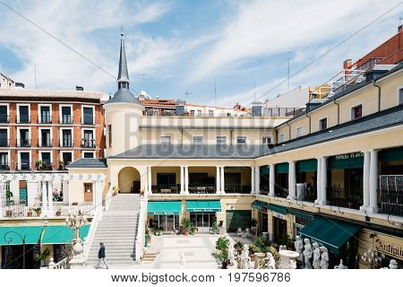 Madrid Spain - May 15 2017: El Rastro is the most popular open air flea market in Madrid). It is held every Sunday and public holiday during the year and is located along Plaza de Cascorro and Ribera de Curtidores