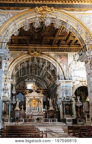 Rome Italy - August 20 2016: Interior view of Basilica dell'Ara Coeli. The church is built as a nave and two aisles that are divided by Roman columns