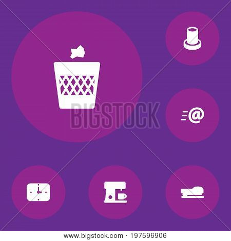 Collection Of Urn , Message , Stand Elements.  Set Of 6 Bureau Icons Set.