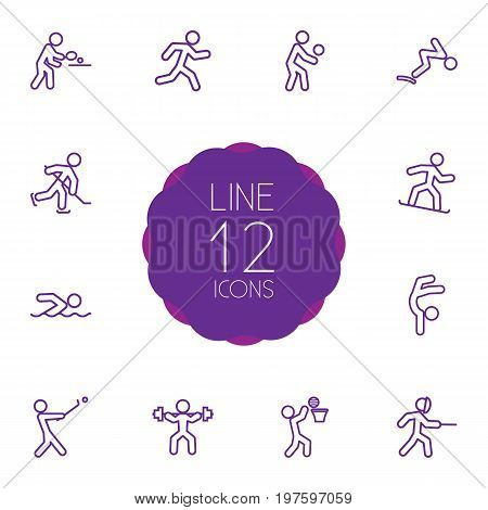 Collection Of Swimming, Swordplay, Diving And Other Elements.  Set Of 12 Athletic Outline Icons Set.